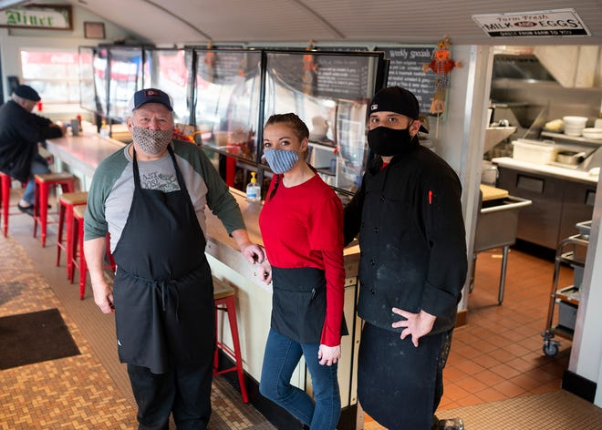 Yankee Diner owner Michael Niemskyk, left, with server Holly Robbins and chef Josh Letendre.