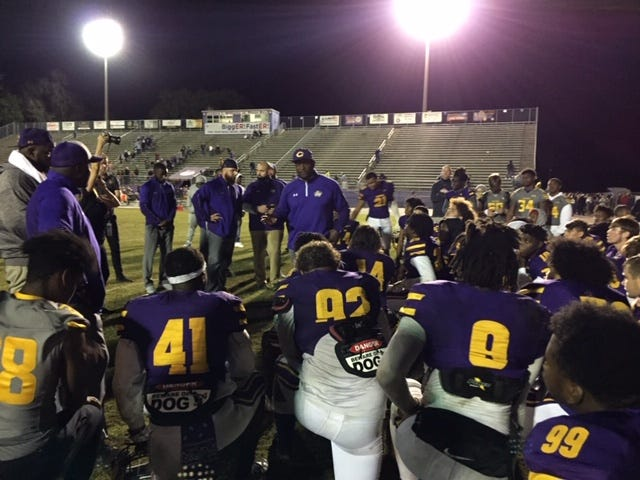 The Columbia football team meets in the end zone following its 28-14 win Daytona Seabreeze on Friday night.