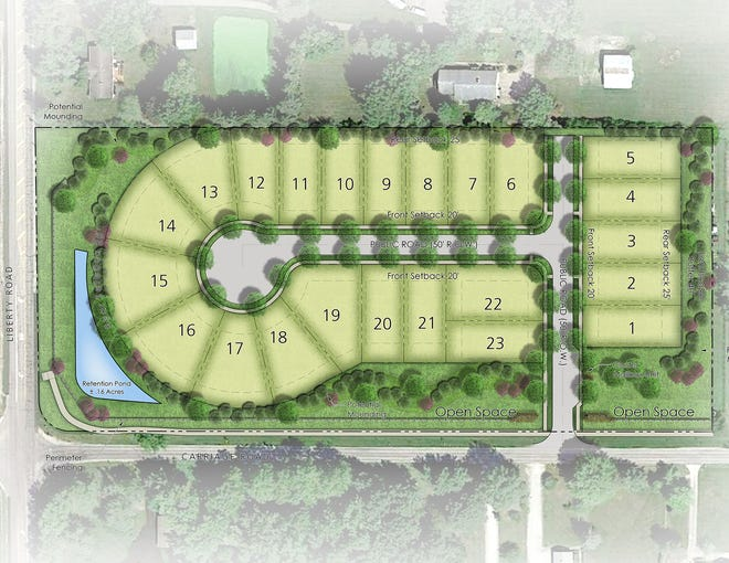 This is the illustrative plan for the Carriage Farms development at LIberty and Carriage roads in Powell.
