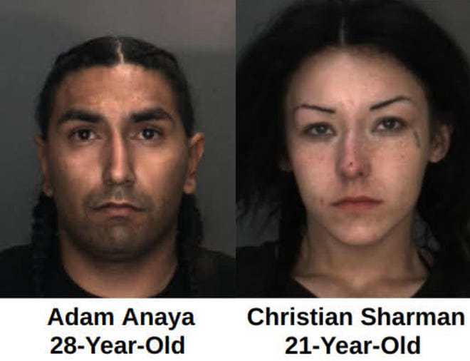 Adam Anaya and Christian Sharman were arrested after a high-speed chase in Barstow on Nov. 19, 2020.