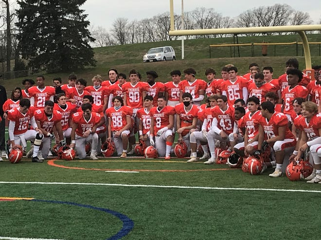The Cherokee High School football team poses for a photo after a tough 36-35 loss to St. Joseph-Montvale in the season finale. The Chiefs finished 5-2.