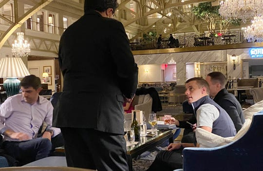 House Speaker Lee Chatfield, right and Representative Jim Lilly, left have drinks at the Trump Hotel in Washington D.C. November 20, 2020.
