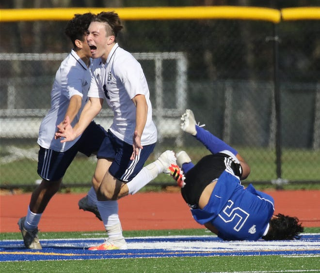 Chris D'Ambrosio of Rutherford scored the third goal of the game for his team in the second half as Rutherford defeated Demarest 3-1 to win the Northeast 2-B regional championship played in Demarest, NJ on November 21, 2020.