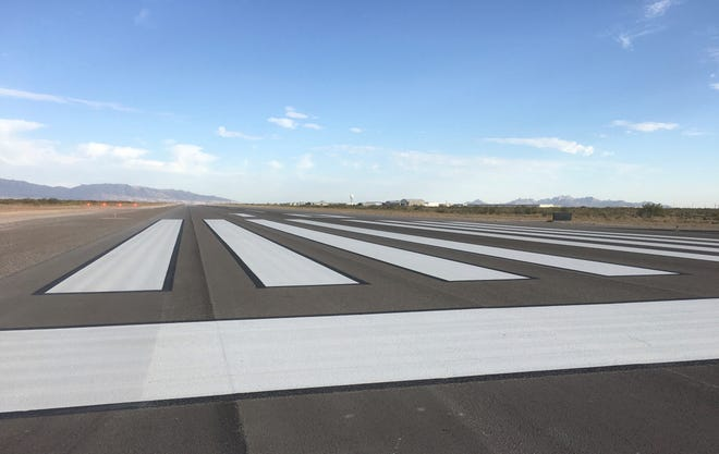The new runway at the Doña Ana County International Jetport is 9,950 feet long and 75 feet wide and can accommodate a 94,000-pound aircraft. Included in the $9 million were the replacement of regular lights with LED lights, new runway wiring and lighting control systems.