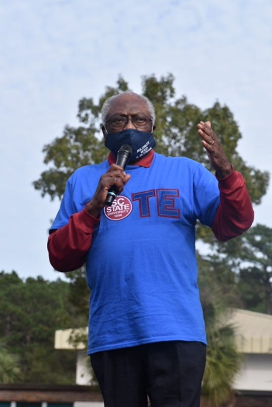 South Carolina Rep. James Clyburn, the House majority whip, addressed a crowd at a campaign rally Nov. 1, 2020 in Hollywood, South Carolina.