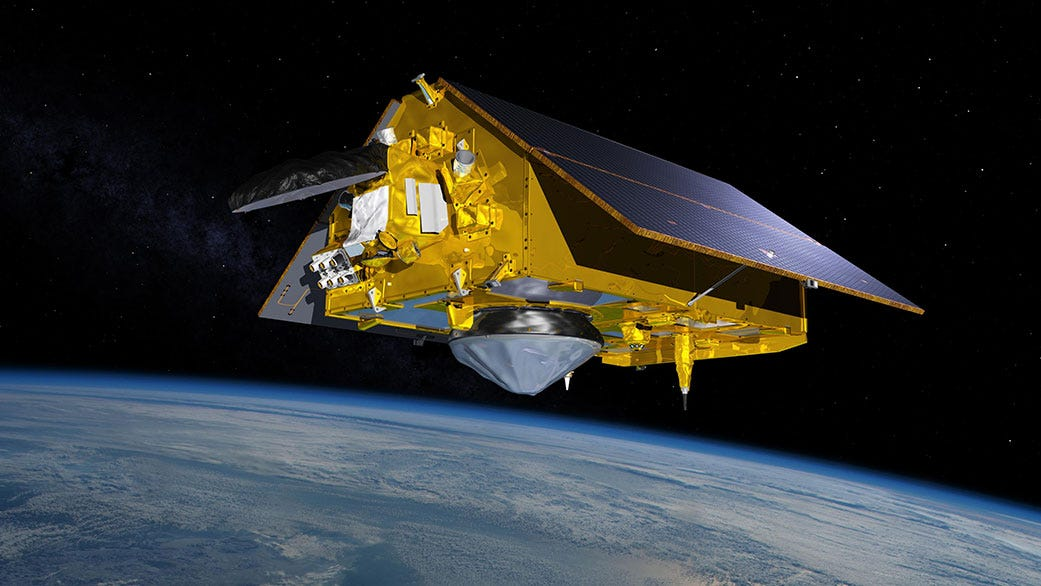 This illustration shows the Sentinel-6 Michael Freilich spacecraft in orbit above Earth with its deployable solar panels extended.