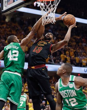 The Celtics are adding center Tristan Thompson, who spent his first nine seasons in the NBA with the Cleveland Cavaliers. Here, he drives against Boston in the 2018 Eastern Conference finals.