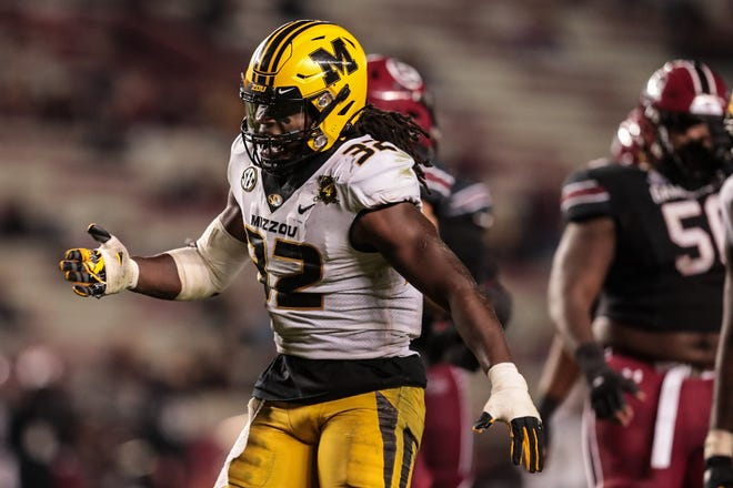 Missouri linebacker Nick Bolton (32) reacts during a game against South Carolina on Saturday night at Williams-Brice Stadium in Columbia, S.C.