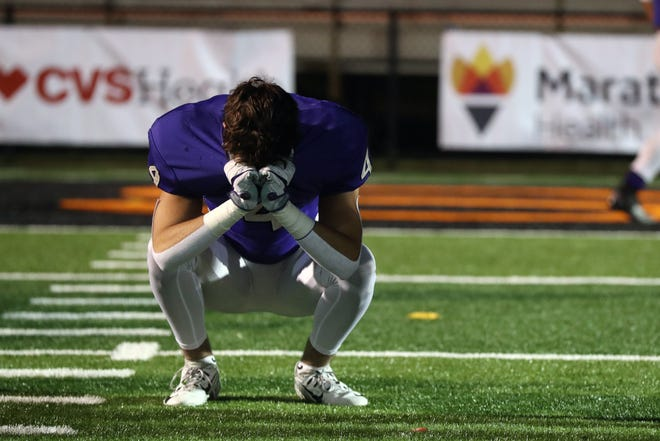 DeSales' Ryan McCann reacts after a 31-28 double-overtime loss to Chardon in the Division III OHSAA State Championship on Nov. 21, 2020, at Paul Brown Tiger Stadium in Massillon, Ohio.