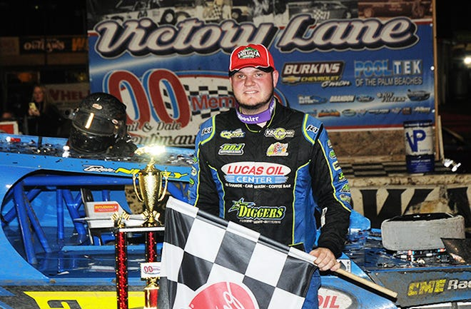 Tyler Nicely in Volusia Speedway Park's Victory Lane after big feature win Saturday night.
