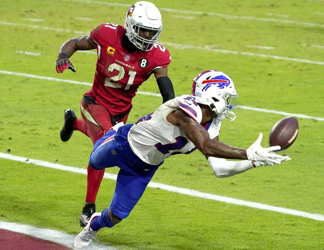 Buffalo Bills wide receiver Stefon Diggs pulls in a touchdown pass as Arizona Cardinals cornerback Patrick Peterson defends during the second half of a Nov. 15 game in Glendale, Arizona.