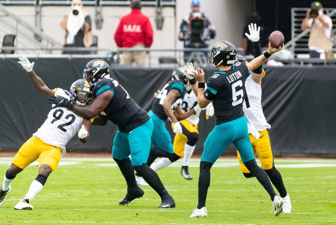 Jaguars quarterback Jake Luton gets off a pass during Sunday's game against Pittsburgh, at TIAA Bank Field.