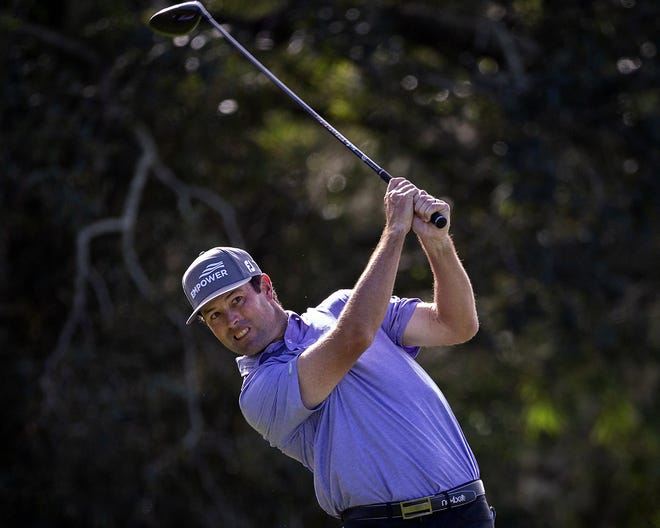 Robert Streb drives his ball off the second tee during final round of the RSM Classic golf tournament, Sunday, Nov. 22, 2020, in St. Simons Island, Ga. (AP Photo/Stephen B. Morton)