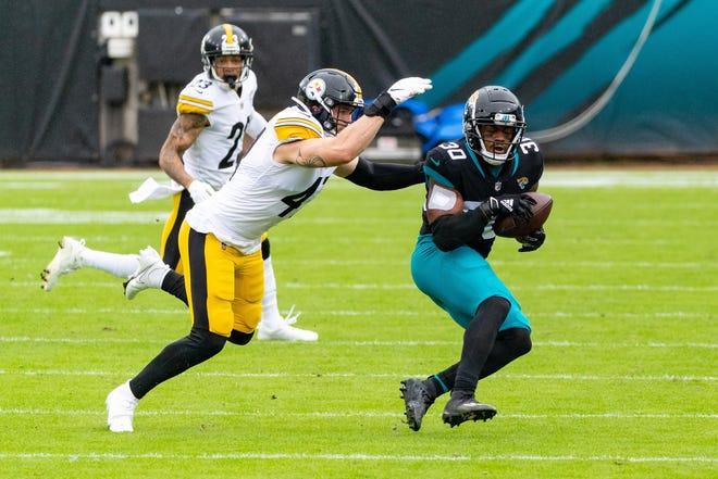 Jaguars running back James Robinson provided the bulk of the offense in Sunday's loss to the Pittsburgh Steelers.