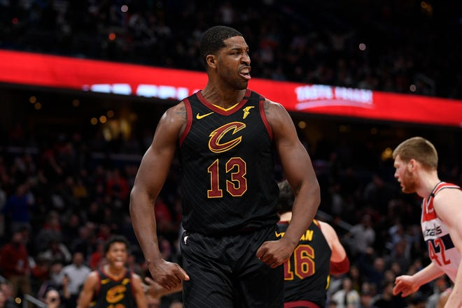 Tristan Thompson reacts during the second half of an NBA basketball game against the Washington Wizards. The former Cleveland Cavaliers center recently signed a contract to join the Boston Celtics.