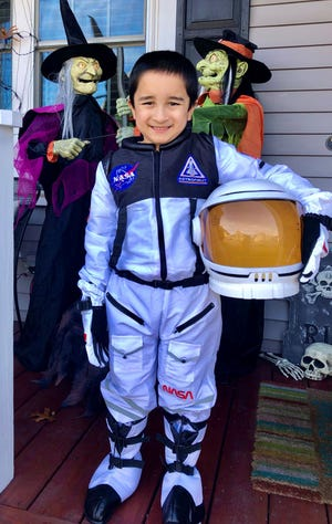 Dev, 7, won in the most creative category with hisastronaut costume in Millbury Public Library's virtual Halloween costume contest