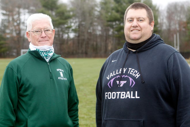 Nipmuc head football coach Dave Tupper (left) and Blackstone Valley Tech head coach Jim Archibald will get to face each other in a game at some point during the Fall II season.