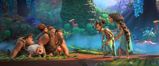 The Croods (left) meet The Bettermans (right) in The Croods: A New Age.