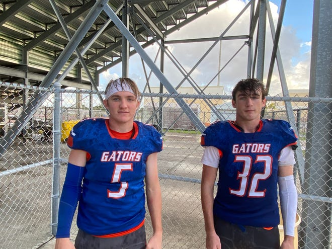 Palm Beach Gardens senior linebacker Dom Presto, left, and sophomore wide receiver / safety Chris Presto combined for three touchdowns and three turnovers in Saturday's 27-13 win over Forest Hill.