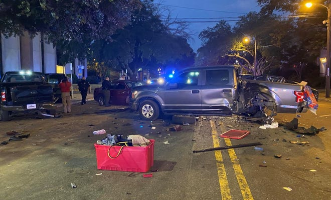 Three adults and one juvenile were taken into custody Saturday, Nov. 21, 2020,after a pursuit ended with a multi-vehicle crash in downtown Tuscaloosa.