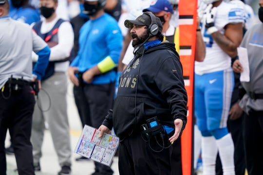 Lions coach Matt Patricia watches in the first half against the Carolina Panthers on Sunday, November 22, 2020 in Charlotte, NC