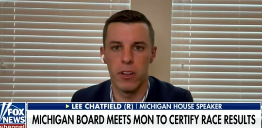 Michigan House Speaker Lee Chatfield, R-Levering, appears on Fox News on Sunday.