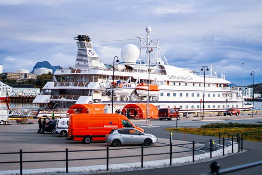 This Aug. 5, 2020 file photo shows the cruise ship SeaDream 1 in Bodoe, Norway.