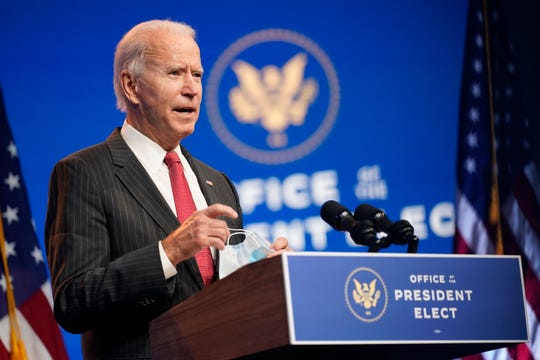 In this Nov. 19, 2020, file photo President-elect Joe Biden speaks at The Queen theater in Wilmington, Del.
