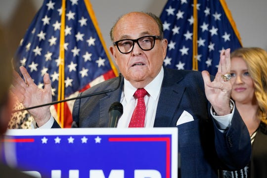 In this Nov. 19, 2020, file photo former Mayor of New York Rudy Giuliani, a lawyer for President Donald Trump, speaks during a news conference at the Republican National Committee headquarters in Washington.