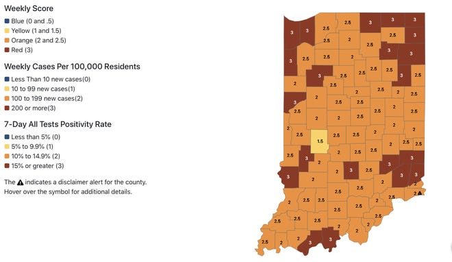 This color-coded map on the Indiana State Department of Health's dashboard shows the distribution of COVID-19 cases by county as of Nov. 18.