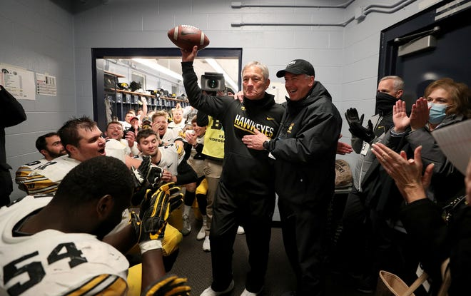 Kirk Ferentz is shown after getting his 100th Big Ten win, a 41-21 triumph at Penn State on Nov. 21. This was his 10th Hawkeye team to finish in the national top 25.