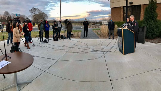Wauwatosa Police Chief Barry Weber addresses the media during a press conference in the Wauwatosa Police Department on Sunday.  Weber announced that a 15-year-old boy was arrested in connection with the shooting at the Mayfair shopping center on Friday afternoon, in which eight people were injured.