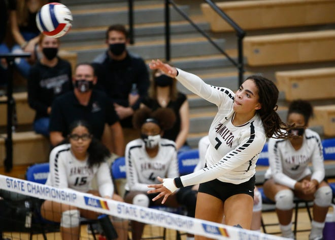 Hamilton's Micah Gryniewicz (7) hits against Perry after winning the 6A High School Girls Volleyball State Championship over Perry in Gilbert, Ariz. on Nov. 21, 2020.