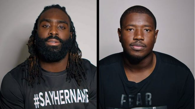 Saints linebacker Demario Davis (left) and Cardinals offensive lineman Kelvin Beachum (right) talk about Breonna Taylor and her impact in a video part of the NFL's Say Their Stories campaign.