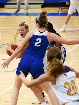 Brooke Pauley yells for a teammate during West Muskingum's 50-41 win against Zanesville on Saturday night at Gary Ankrum Gymnasium.