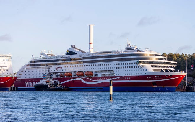 The passenger ferry Viking Grace is seen at the port of Mariehamn, Aland Islands, Finland, Sunday, Nov. 22, 2020.