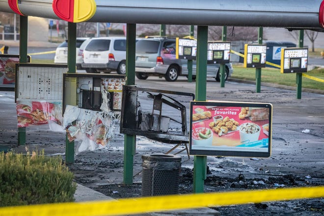 The aftermath of a deadly late Saturday night shooting at a Sonic restaurant in Bellevue, Neb.