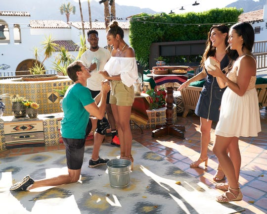 "Former Bachelorette Becca Kufrin and Sydney Lotuaco from Season 23 of ""The Bachelor"" visit Tayshia, helping her plan an outrageous game of Truth or Dare for six of the men."