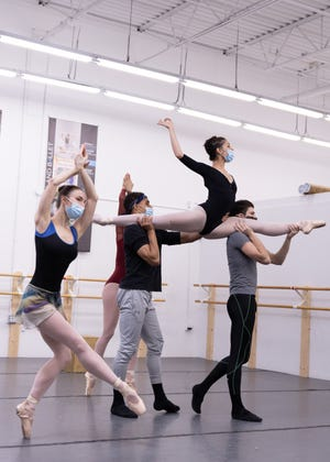 """Madison Campbell, Alia Federico, Elias Re, Erinn Crittenden and Covington Pearson from the Cleveland Ballet rehearse """"The Little Nutcracker,"""" whose Northeast Ohio performances include a Dec. 6 show at Stan Hywet in Akron."""