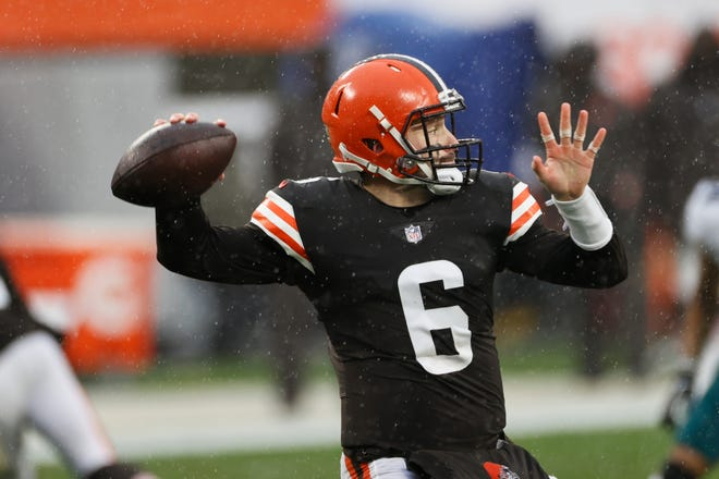 Browns quarterback Baker Mayfield throws during the first half of Sunday's game against the Philadelphia Eagles.
