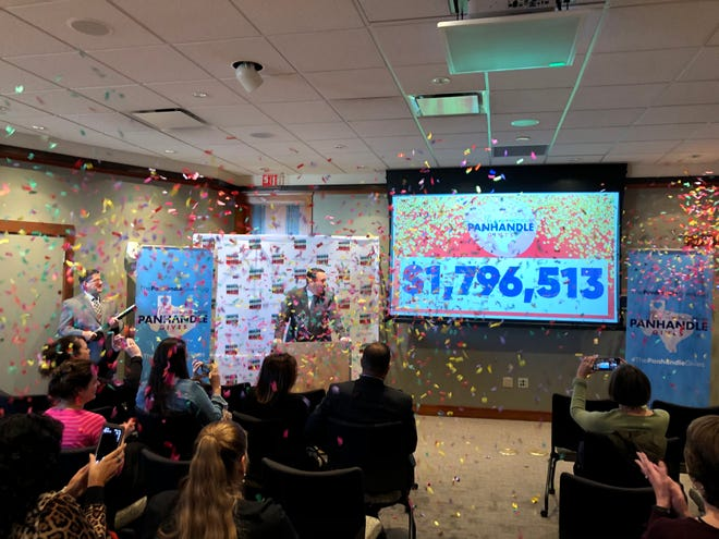 Officials with the Amarillo Area Foundation celebrate last year's The Panhandle Gives total. This year's goal for The Panhandle Gives is to raise $2 million for area nonprofit organizations