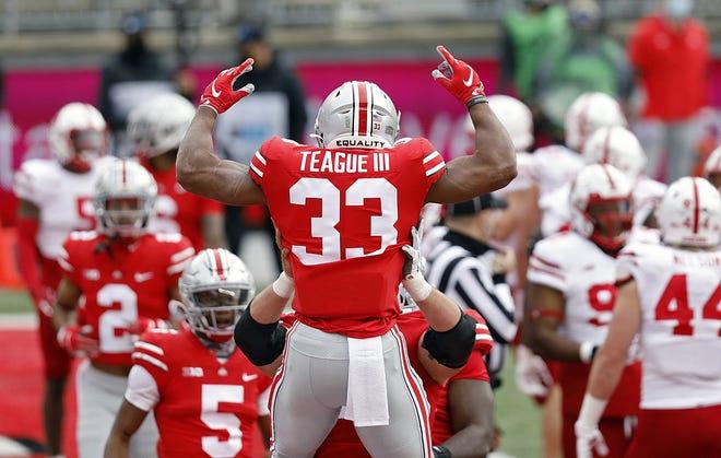 Ohio State running back Master Teague III celebrates his touchdown run against Nebraska.
