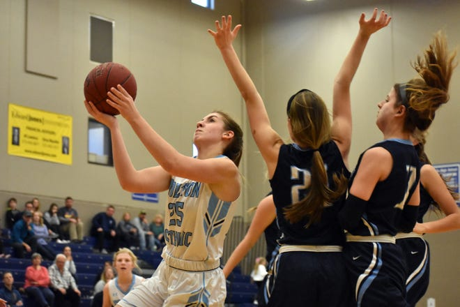 Tolton's Lizzy Wright (25) prepares to shoot the ball against Notre Dame (St. Louis) during a game in 2019 at Tolton High School.