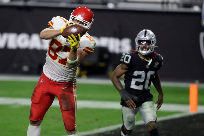 Kansas City Chiefs tight end Travis Kelce (87) catches a pass for a touchdown against the Las Vegas Raiders during the second half of a game Sunday in Las Vegas.