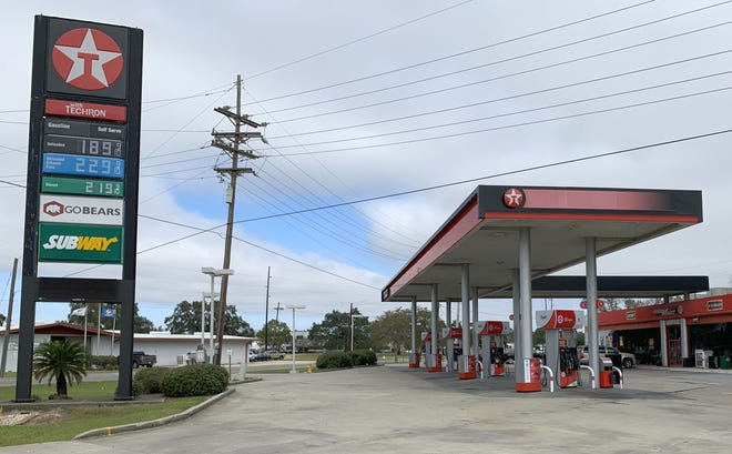 Gas prices are on display Monday at GoBears Texaco at South Van Avenue and Industrial Boulevard in Houma.