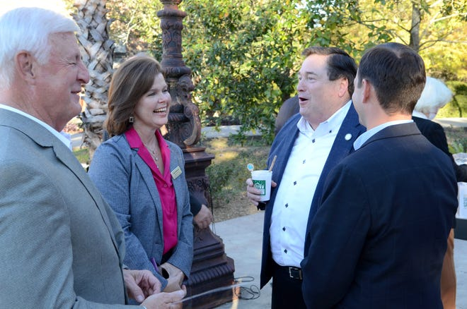 Ascension Parish Assessor Mert Smiley, Ascension Parish Tourism Executive Director Tracy Browning, Lt. Gov. Billy Nungesser, and Chief Deputy Assessor Justin Champlin share a laugh after the unveiling of the Sweet Spot Landing at Houmas House Nov. 18.