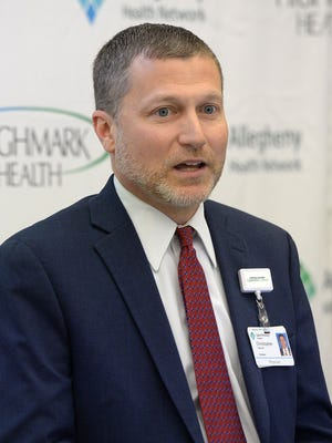 Saint Vincent Hospital President Christopher Clark, D.O., shown in a May 2019 file photo, said his hospital is seeing more critically ill COVID-19 patients.