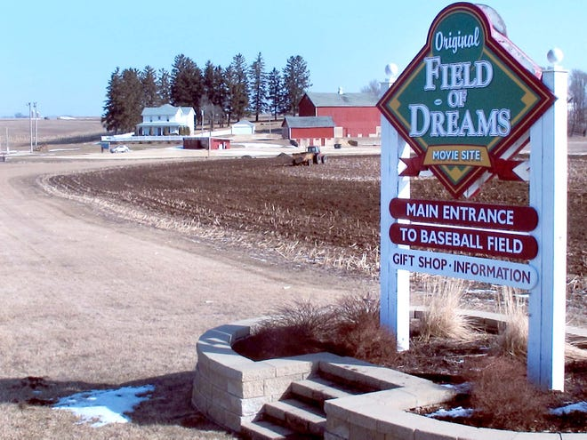 """This March 6, 2012 photo shows the entrance to the """"Field of Dreams"""" movie site in Dyersville, Iowa."""