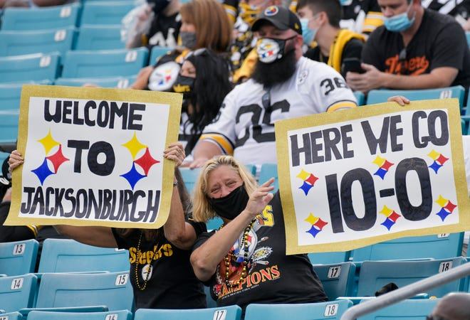 Pittsburgh Steelers fans show their signs during their game against the Jaguars Sunday, November 22, 2020 at TIAA Bank Filed in Jacksonville, Florida. Will Dickey/Florida Times-Union