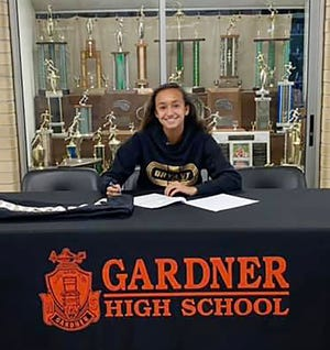 Gardner High senior Savannah Pineda signed her National Letter of Intent to run track at Bryant University during a brief signing ceremony held recently at the high school. Pineda plans on studying biology with the goal of becoming a physician's assistant.